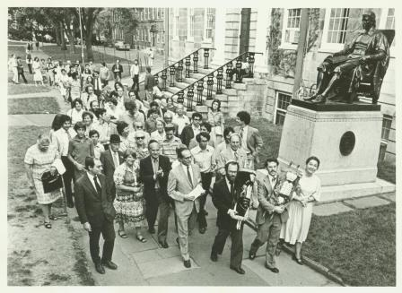 Procession across Harvard Yard to new Hillel location at 74 Mt. Auburn St., 1979