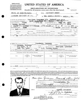 Naturalization application, May 1947, Philadelphia (note his names)